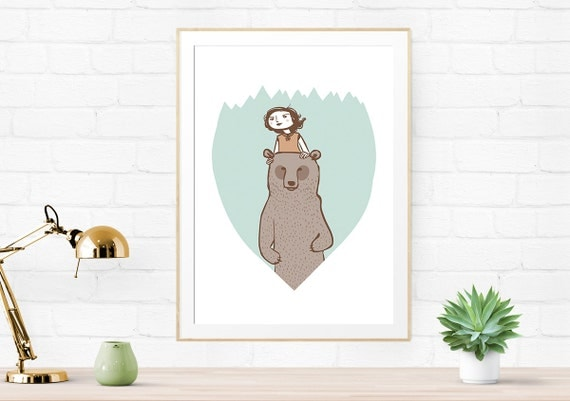 The Chaperone - giclee art print, woodland art, bear print, Illustration Print