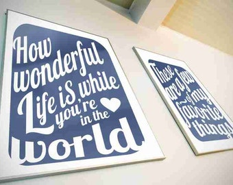 Typography Art Print - How Wonderful Life Is v6 - love song lyrics in deep navy blue