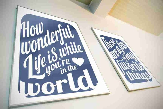 Typography Art Print - How Wonderful Life Is v6 - love song lyrics in deep navy blue