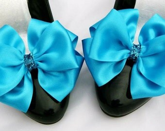 Turquoise Shoe Clips Pinup Burlesque Satin Betty Bows for Shoes Retro Vintage Style by Seriously Sassyx