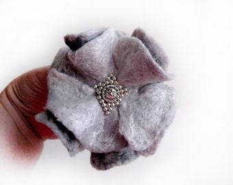 A felt brooch -  Mist