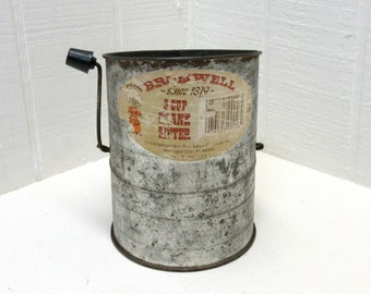 Vintage Bromwell's 3 Cup Flour Sifter 2 Wire With Original Label