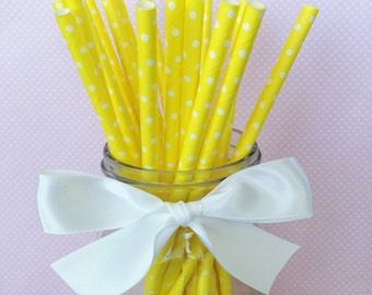 20 yellow polka dot paper straws with printable flag, polka dot straws, yellow paper straws