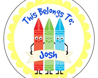 back to school stickers, personalized back to school labels, crayon stickers, this belongs to stickers, 3 sizes available