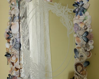 RESERVED ... Coastal Shores Vintage Etched Sea Shell Mirror