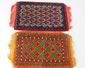2 Vintage Dollhouse Rugs - Vintage Miniature Flannel Tobacco Tags
