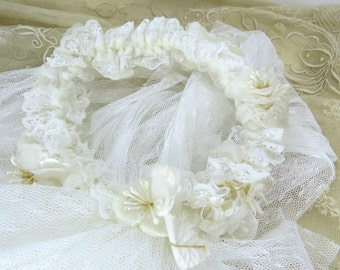 Vintage Flower Girl Veil with Floral Crown, 1st Communion Confirmation Veil, Girl's Wedding Accessory