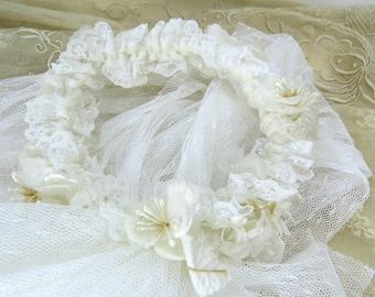 Flower Girl Veil with Floral Crown - Vintage 1st Communion Confirmation Veil -  Wedding Accessory