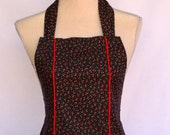 Retro Apron, Women's Apron,  Red Cherry Apron with Dolly Bow Included