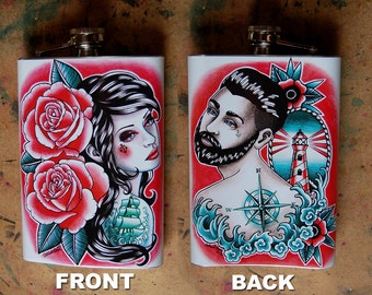 Tattoo Art Design Stainless Steel 8 oz. Hip Flask Down With The Ship Pretty Tattoo Nautical Love Romance - Pink and Blue Lowbrow Flask