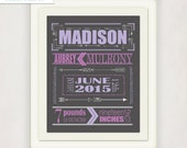 Arrow Birth Announcement Poster // Baby Birth Information Wall Art // Girl's Violet Purple Gray Gift // Modern Birth Print // Arrow Nursery