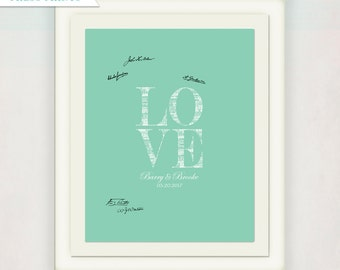 Love Wedding Guest Book Alternative // Personalized Wedding Sign for signatures // Love Canvas with names // Sea green