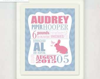 Rabbit Birth Announcement Print in Pink & Blue // Personalized Girl's Wall Art Print //  Kid's Nursery Wall Art // Baby Gift // Sweet Bunny