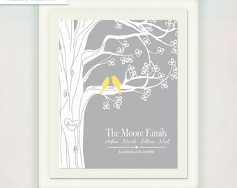 Personalized Wedding/ Anniversary Tree Print // Family Name // Custom Housewarming Gift with your initials on a tree // Wedding Sign