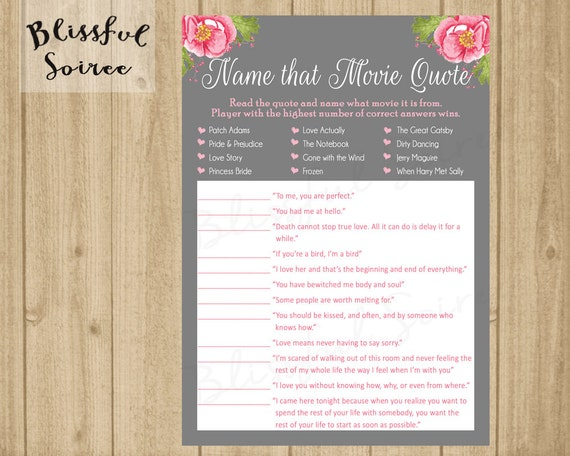 Name that movie love quote bridal shower game romantic name that movie love quote bridal shower game romantic movie quote game pink flowers diy printing wedding shower game brs11 stopboris Choice Image