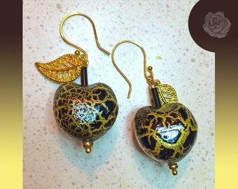 Hook Earrings Black and Gold Lightweight Animal Print Puffed Hearts Gold Filigree Leaves Balls Gold Earrings You Choose One of Three Styles
