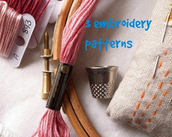 3 embroidery patterns of your choice