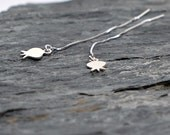 Tiny Pomegranate Earrings in Sterling Silver , Threader Earrings , Dangle Earrings Gift for Teens Bat Mitzvah Gift Judaica Jewelry