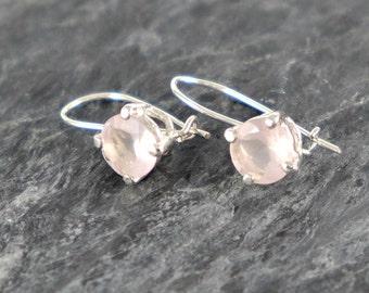 Rose Quartz Earrings, Sterling Silver Earrings, Rose Quartz jewelry Gift For Girlfriend, Love Gemstone Pink Quartz Earrings - MADE TO ORDER