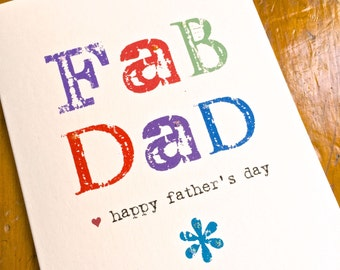Fab Dad Father's Day Card FREE UK P&P Funny dad card daddy
