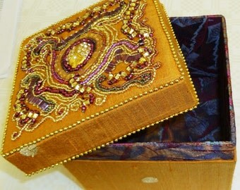 Gold silk Bead embroidered trinket box