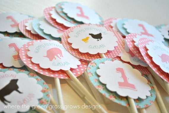 Shabby Chic Girl Farm Cupcake Toppers