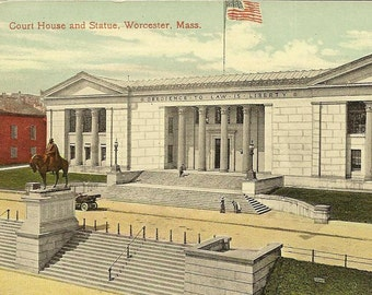 Court House and Statue Worcester Massachusetts 1915 Vintage Postcard - Historic Architecture