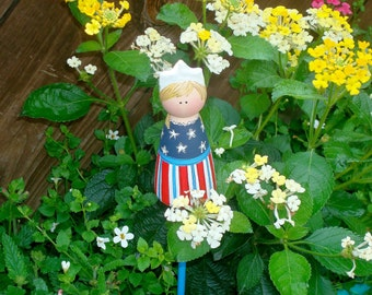 "Plant Stake ""Garden Girls"" Hand Painted Peg People, ""Little Miss Liberty"" Ready to Ship"