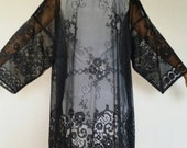 Black Lace and Silk Fringe Kimono