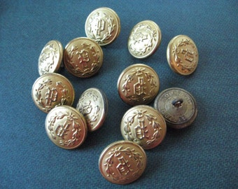 "Brass Shank Buttons Waterbury/Scoville/Superior/ Extra Quality Ornate ""P"" 29 Uniform Buttons"