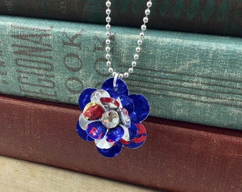 Red Bull Sweet and Small Rose Necklace.  Recycled Soda Can.