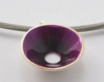 silver necklace, Purple Conical necklace, liquid glass necklace, enamel necklace, Conical pendant, handmade