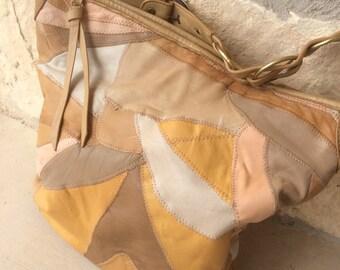 Vintage Patchwork Brown Pink Leather Handbag