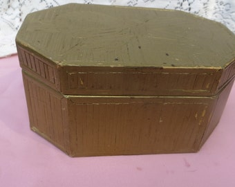 Vintage Textured Cardboard Box with Hinged Lid Unique Hexagon Shape Gold