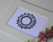 Floral Mandala Ink Pen Matted Art Print, mandala, sacred geometry, zen, meditation, yoga, yogi, mandala art, ink pen art, black and white
