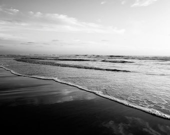 "Black and White Beach Photography, Ombre, Grey White Black, Beach Landscape, Black White Art Print ""Black White Ombre Beach"""