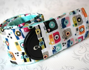 Minky Camera Strap Cover - Padded Minky - Cute Cameras with Aqua Minky - Photographer Gift - Riley Blake Snapshot in Multi