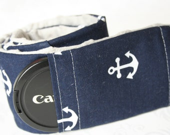 Camera Strap Cover with Lens Cap Pocket - Padded Minky - Photographer Gift - Navy and White Anchors with Gray Minky