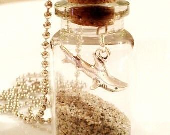 SALE Jewelry Shark Necklace Sand in a Bottle Beach Jewelry Surfer Gift Vial Men Guy Teen Girl R30