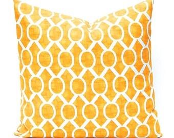Yellow Pillows, Yellow Cushion Cover, Yellow Throw Pillow, Decorative Pillow Covers 20 x 20 Yellow on White Slub Trellis Throw Pillows