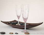 Blush Pink Wedding Glasses, Champagne Flute, Hand Painted,, Set of 2