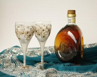 Aperitif Glasses, Shot Glasses, Schnapps glasses, Brandy Glasses, Grappa Glasses, Hand Painted, set of 2