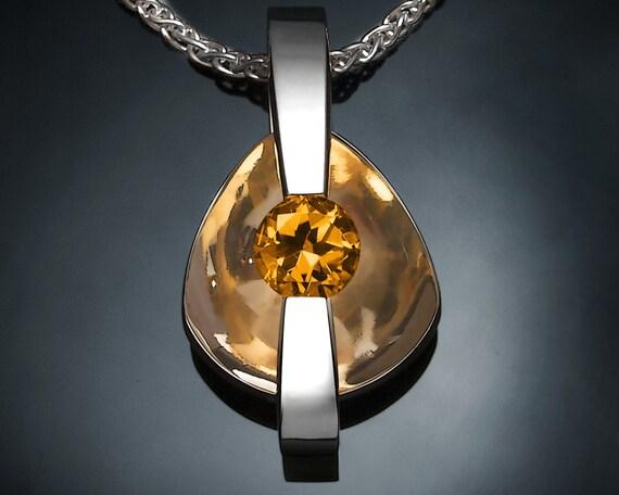 citrine necklace, citrine pendant, November birthstone, statement necklace, yellow gemstone, Argentium silver, modern jewelry - 3502