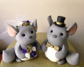 Chinchilla Love custom wedding cake topper