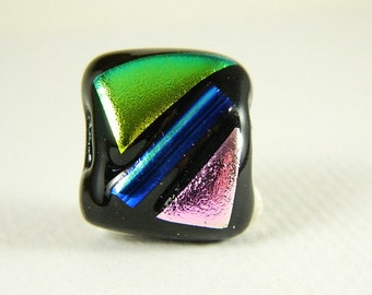 Blue, Pink, and Green Dichroic Fused Glass Bead/Pendant- 9