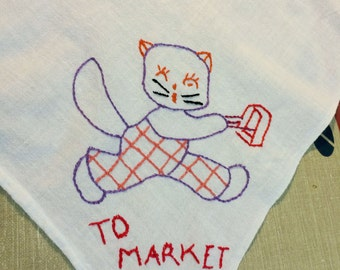 Vintage 1940s  To Market Kitty Embroidered Linen Tablecloth 36 x 48