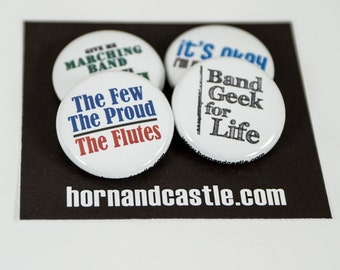 Four Marching Band Flute Buttons or Magnets - size one inch - FL 1