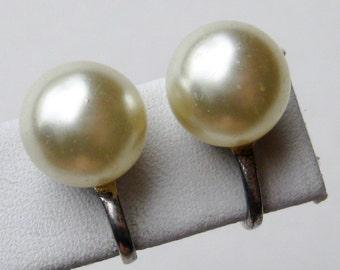 Vintage Faux Pearl Sterling Silver Screwback Earrings