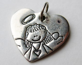 Vintage Sterling Silver Lucy Ann Heart Shaped Angel Necklace Pendant Charm