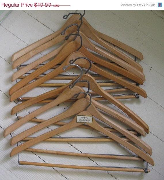 On sale wooden suit hangers set of batts wishbone nagel